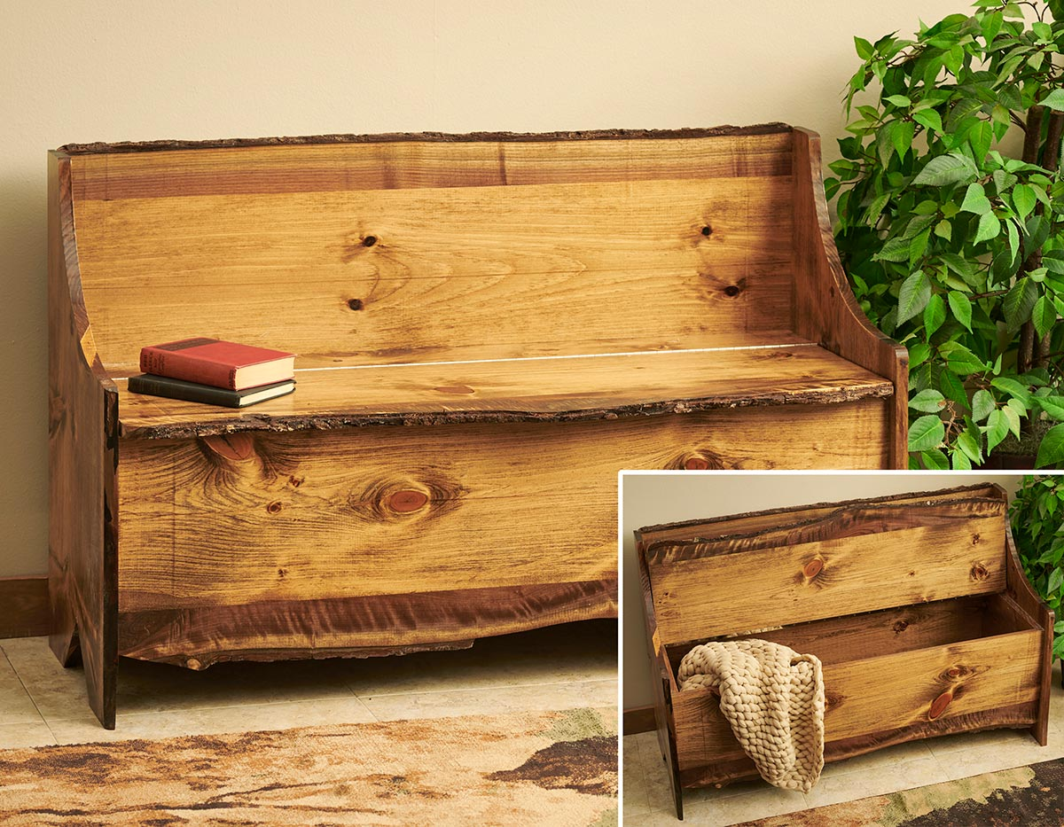 5903051502: Rustic Pine Storage Bench
