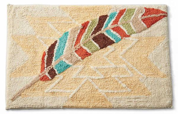 4047718210: Southwest Feather Bath Mat (20