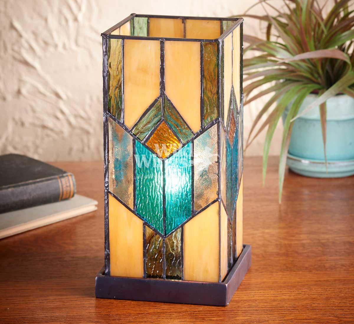 5607718601: Seaglass Stained Glass Hurricane Lamp