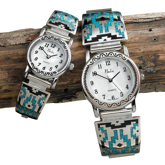 77621816SS:Southwestern Silver & Turquoise Watch Collection