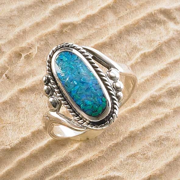 7762112503: Sterling Silver and Blue Opal Ring
