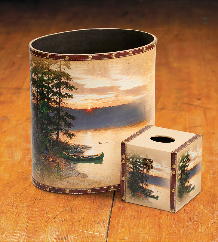 4373040103: Summer Sunrise Wastebasket & Tissue Set (Set of 2)