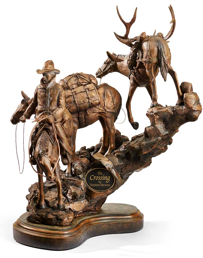 6567444282:&nbsp;<i>The Crossing&mdash;Cowboy;&nbsp;</i> Sculpture