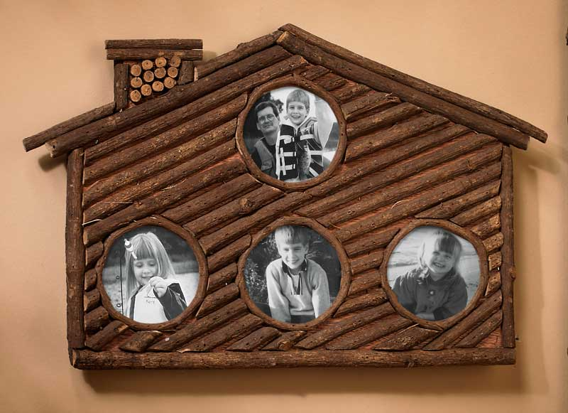 4181850015: Twig Cabin Photo Frame