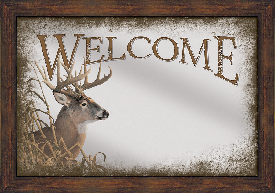 5386493507:&nbsp;<i>Welcome&mdash;Whitetail Deer;&nbsp;</i> Large Decorative Mirror