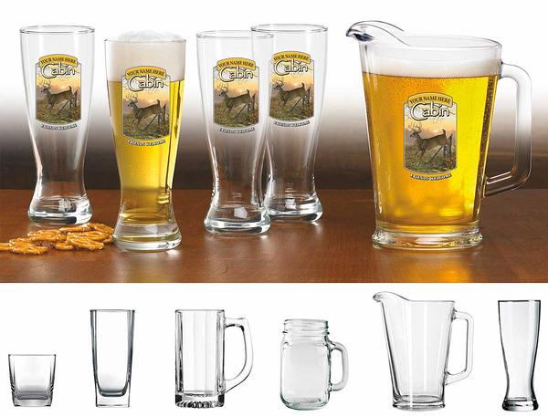 87226156SS: Whitetail Deer Cabin Personalized Glassware